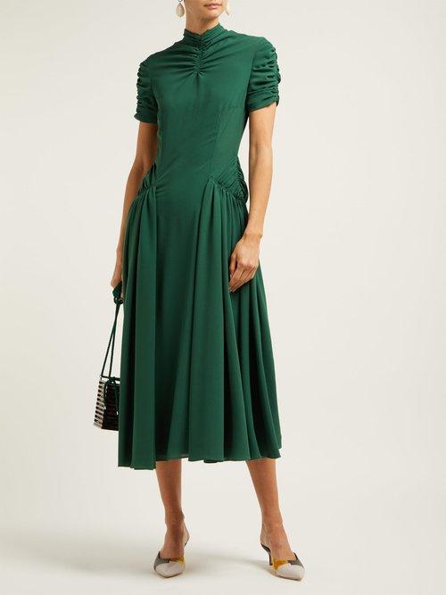 Ariane Ruched Crepe Midi Dress by Emilia Wickstead