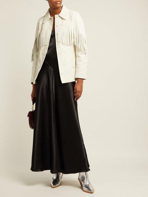 Angela Fringed Leather Jacket by Ganni