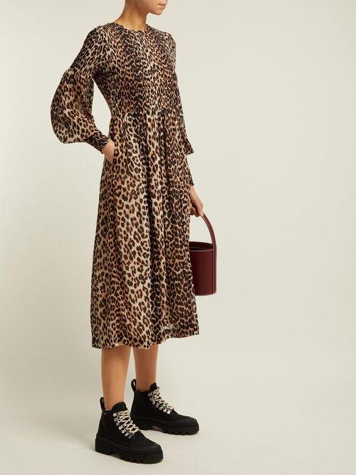 Mullin Leopard Print Georgette Midi Dress by Ganni