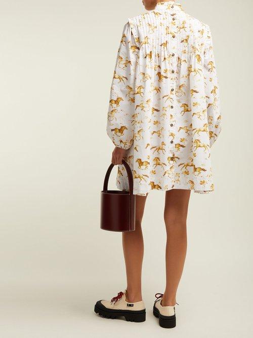 Weston Horse Print Cotton Dress by Ganni
