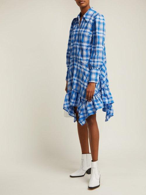 Foxworth Handkerchief Hem Checked Poplin Dress by Ganni