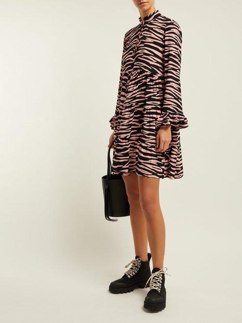 Lindale Zebra Print Tiered Satin Dress by Ganni