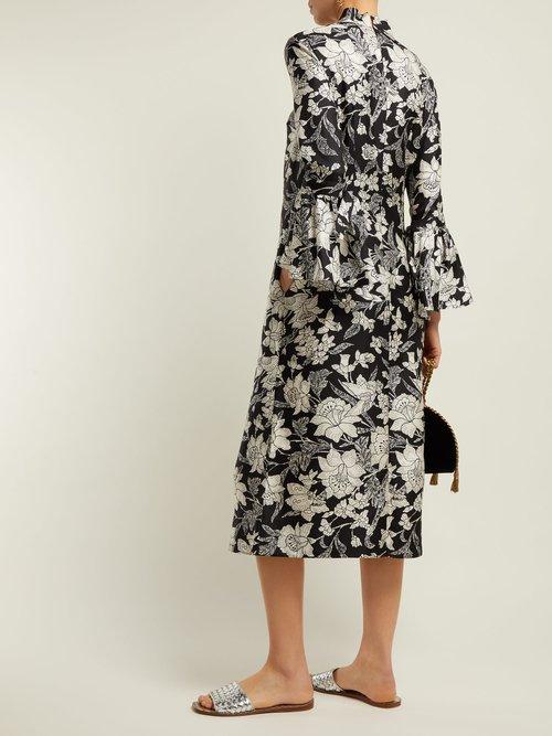 Happy Wrist Lungo Lilium Print Silk Dress by La DoubleJ