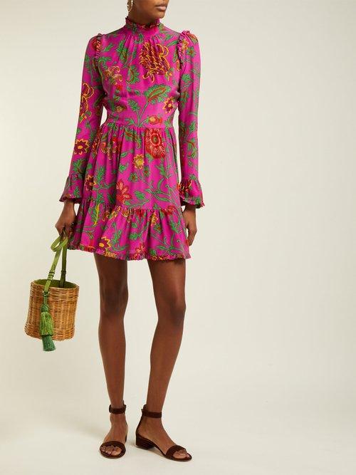 Photo of Visconti Dragon Flower Print Silk Mini Dress by La DoubleJ - shop La DoubleJ dresses online sales