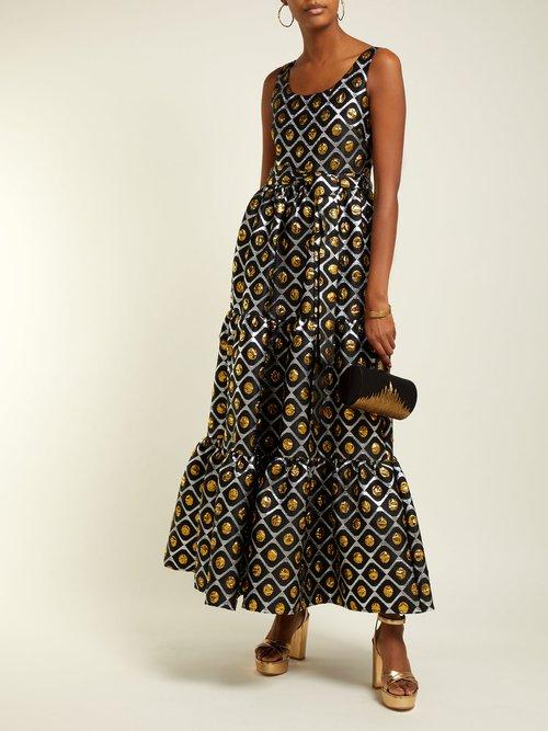 Pellicano Geometric Print Brocade Dress by La DoubleJ