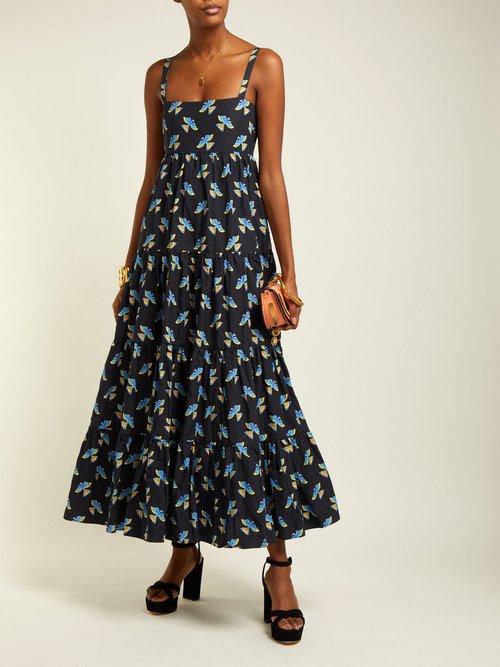 Bouncy Columbo Print Cotton Midi Dress by La DoubleJ