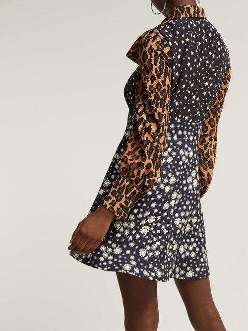 Photo of Leopard Print Contrast Panel Silk Dress by Miu Miu - shop Miu Miu dresses online sales