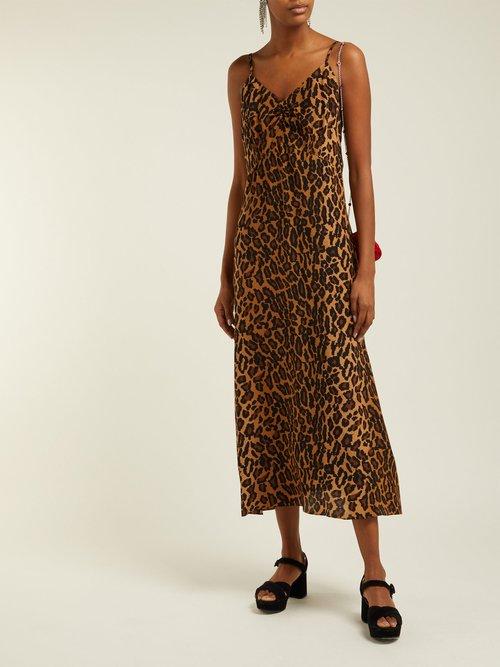 Leopard Print Low Back Silk Midi Dress by Miu Miu