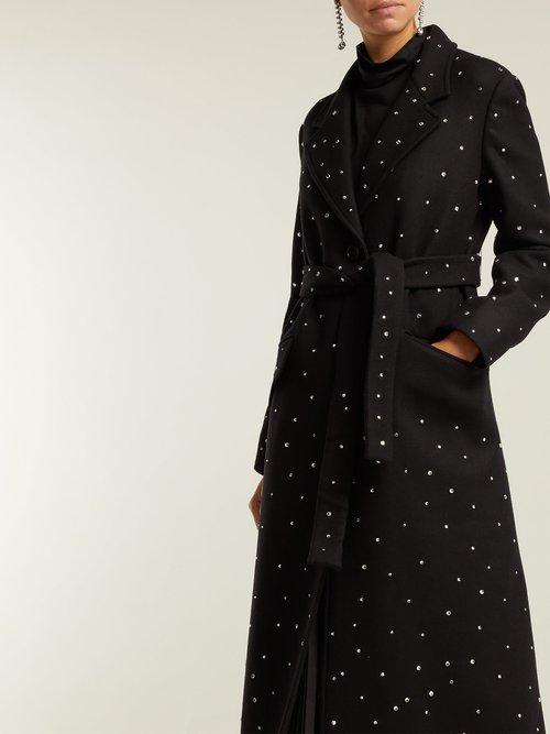 Crystal Embellished Single Breasted Wool Coat by Miu Miu