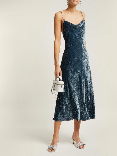 Cowl Neck Crushed Velvet Dress by Miu Miu