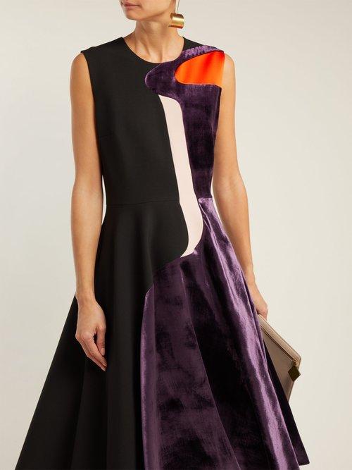 Cora Abstract Velvet Panel Cady Dress by Roksanda