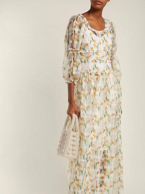 Cara Daffodil Print Check Organza Maxi Dress by Shrimps