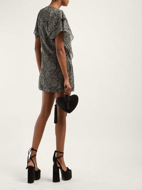 Paige Platform Suede Sandals by Saint Laurent