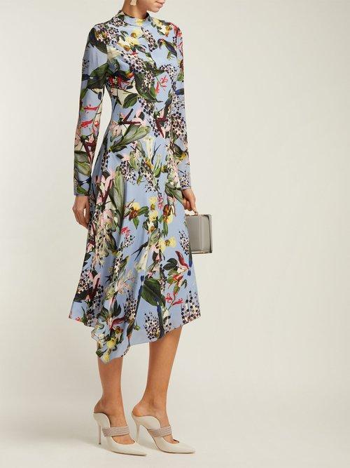 Sinclaire Facette Dream Bird Print Silk Midi Dress by Erdem