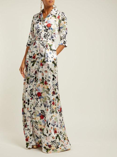 Karissa Floral Print Silk Satin Gown by Erdem