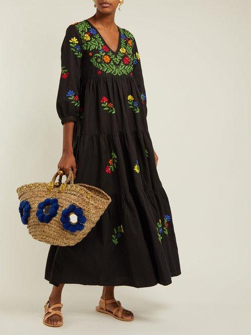 Frangipani Embroidered Cotton Dress by Muzungu Sisters