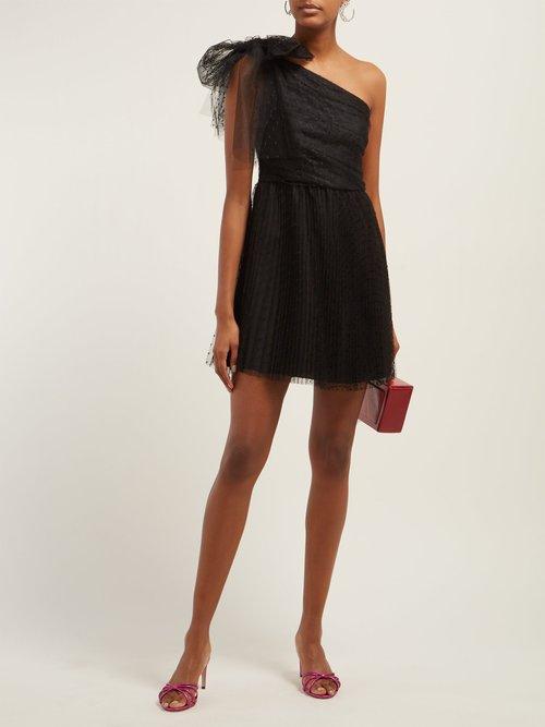 One Shoulder Point D'esprit Mini Dress by Redvalentino