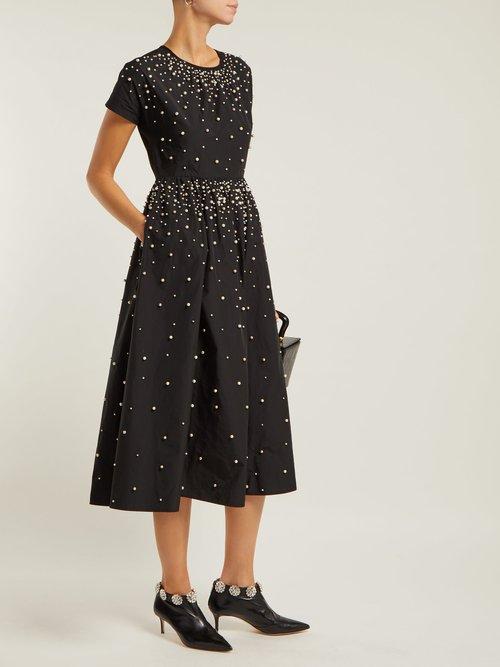 Pearl Embellished Taffeta Dress by REDValentino