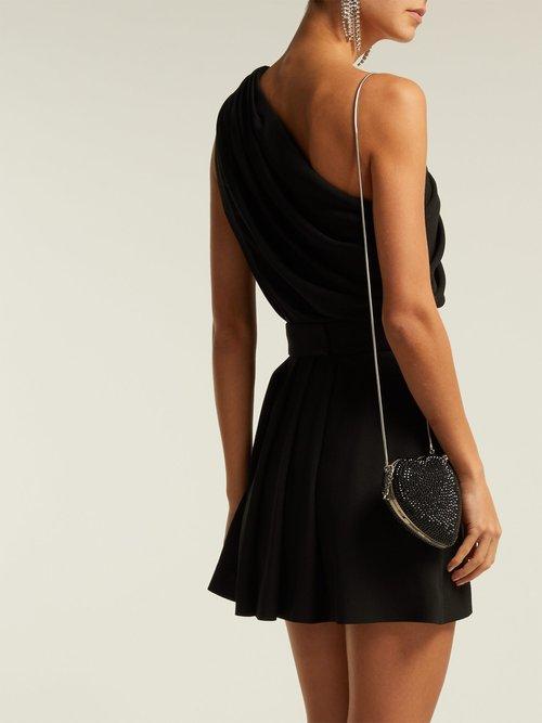 One Shoulder Draped Crepe Mini Dress by Saint Laurent