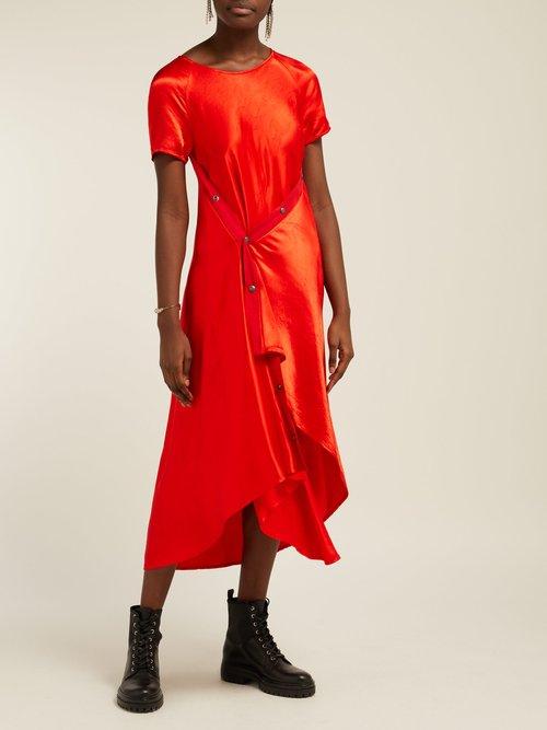 Sophie Washed Satin Asymmetric Midi Dress by Sies Marjan