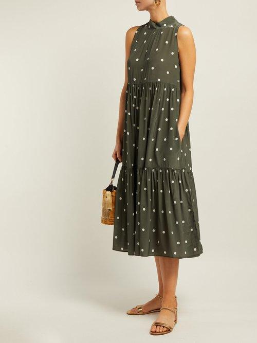 Polka Dot Silk Crepe Tiered Midi Dress by Asceno