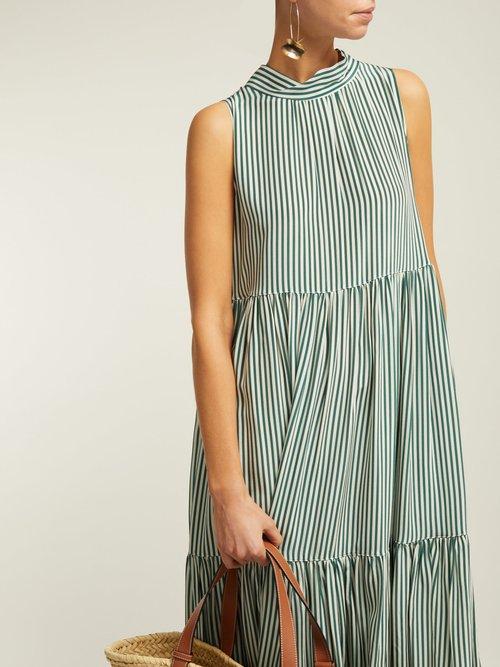 Striped Neck Tie Tiered Silk Midi Dress by Asceno