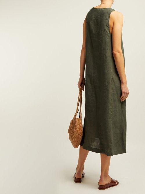 Panelled Linen Midi Dress by Asceno
