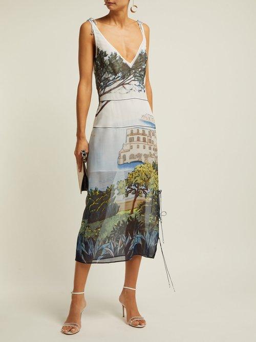 Ponza Silk Chiffon Midi Dress by Altuzarra