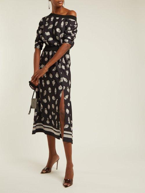 Paola Vase Print Satin Dress by Altuzarra