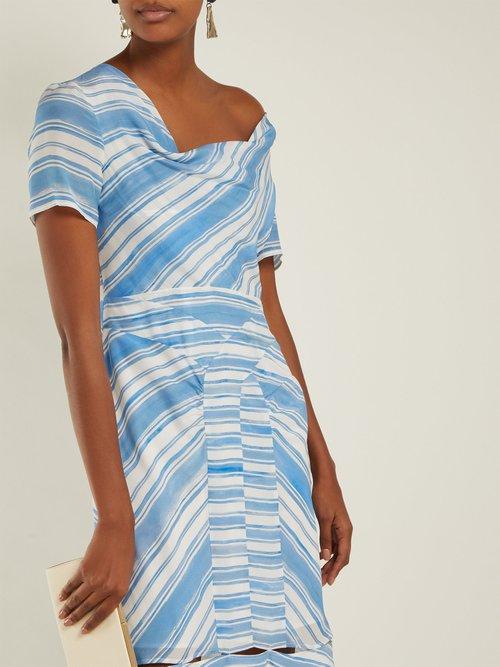 Lucia Striped Silk Midi Dress by Altuzarra