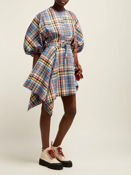 Asymmetric Tartan Poplin Mini Dress by Marques'Almeida