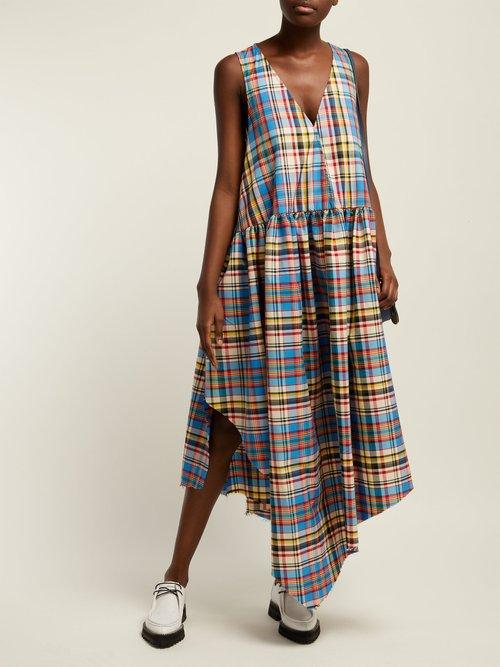 Oversized Tartan Print Poplin Midi Dress by Marques'Almeida