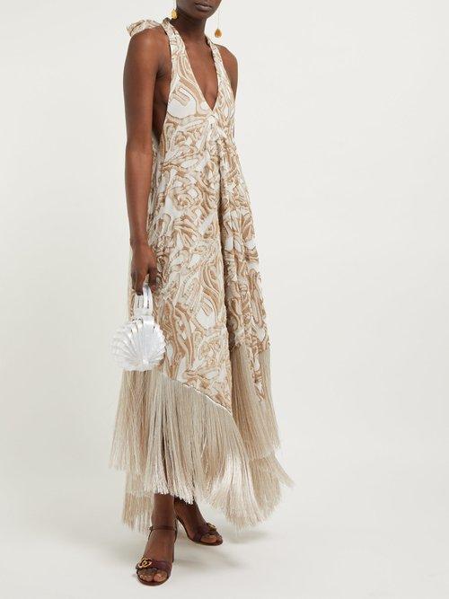 Ali Halterneck Fringed Jacquard Dress by Cult Gaia
