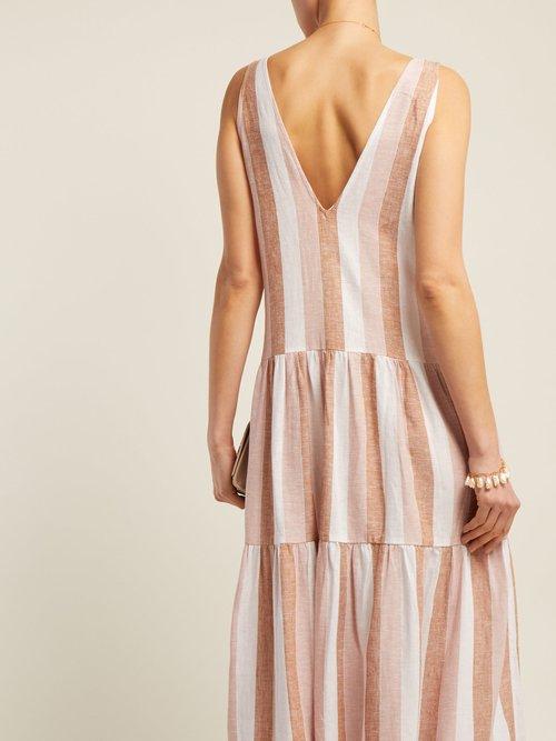 Porto Striped Linen Blend Maxi Dress by Adriana Degreas