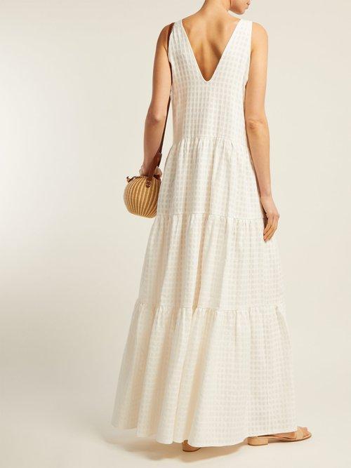 Porto V Neck Tiered Cotton Dress by Adriana Degreas