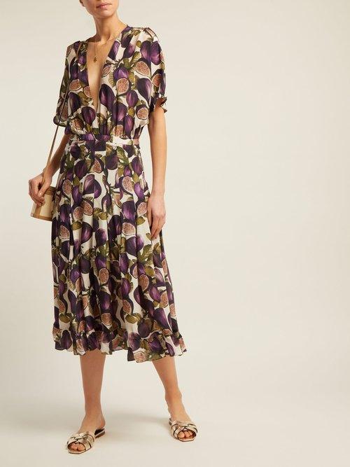 Silk Crepe Fig Print Midi Dress by Adriana Degreas