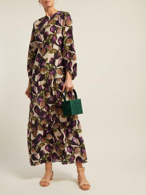 Silk Crepe De Chine Fig Print Dress by Adriana Degreas