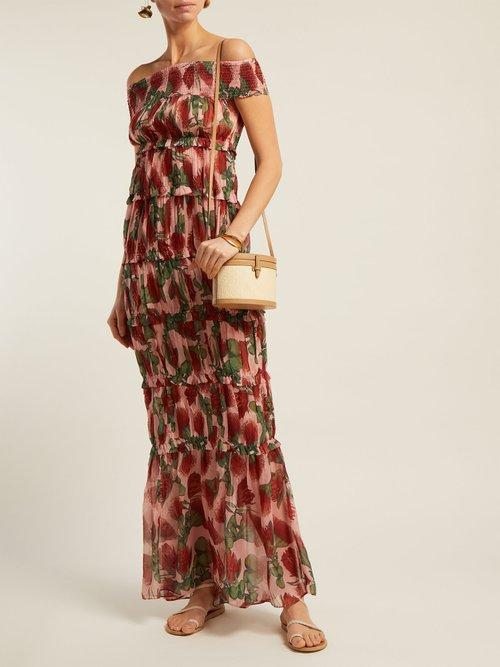 Fiore Protea Print Tiered Silk Maxi Dress by Adriana Degreas