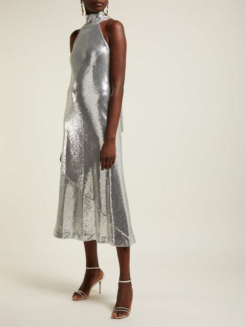 Daniela Sequinned Halterneck Midi Dress by Galvan