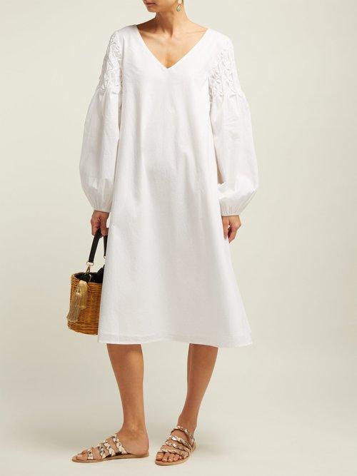 Photo of Smocked Shoulder Cotton Dress by Merlette - shop Merlette dresses online sales