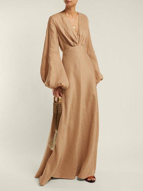 Utopia Balloon Sleeve Linen Maxi Dress by Kalita