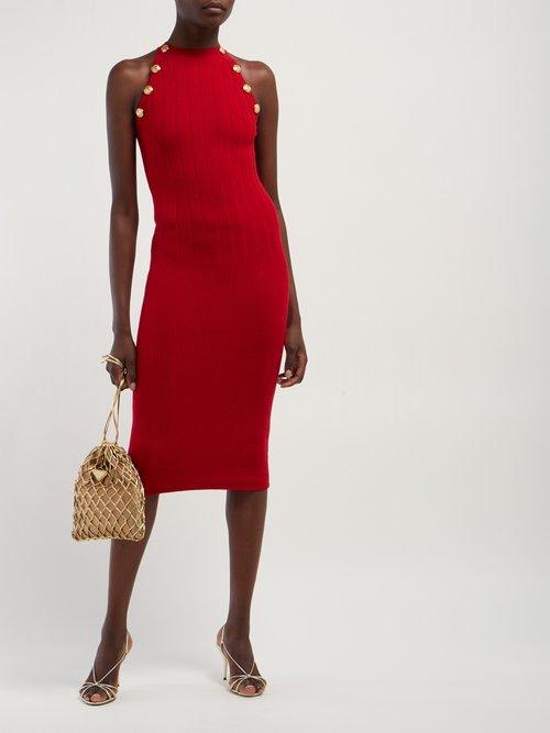 Halterneck Wool Blend Dress by Balmain
