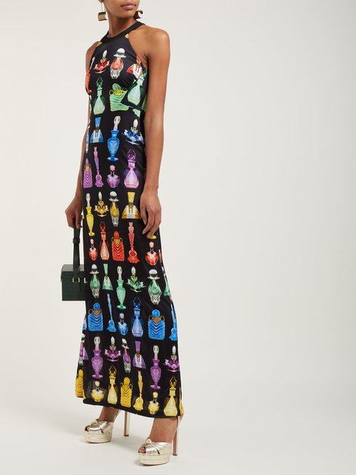 Iman Perfume Print Halterneck Maxi Dress by Mary Katrantzou