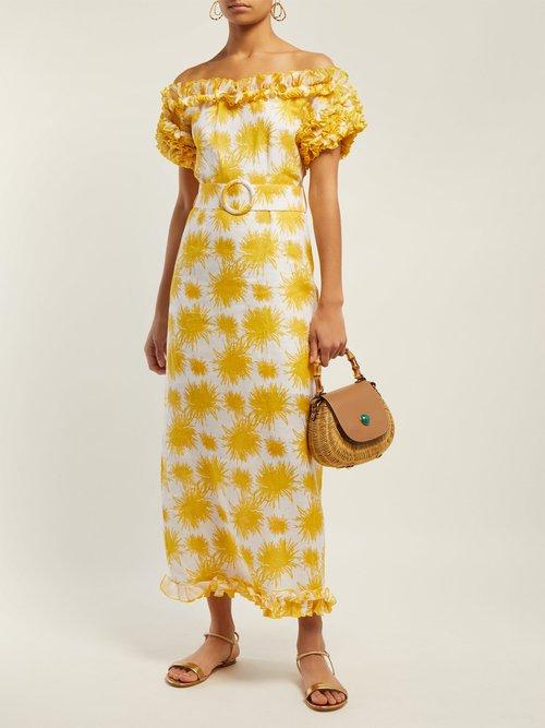 Echinus Print Off The Shoulder Linen Midi Dress by