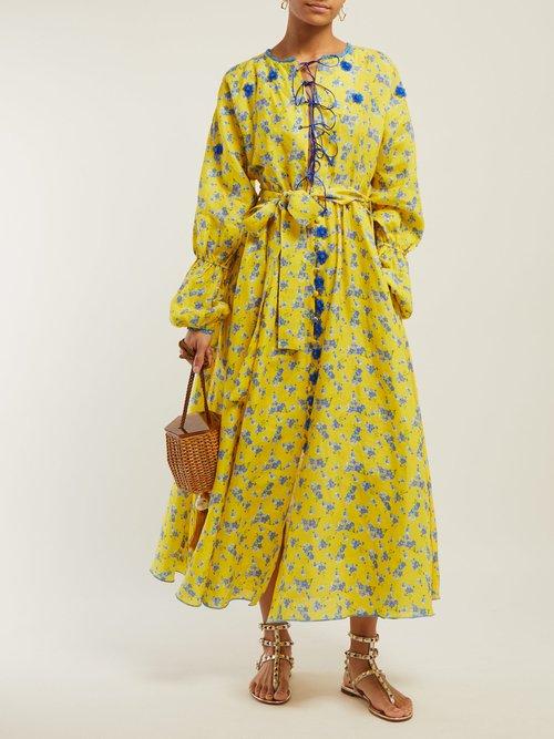 Floral Print Tie Waist Linen Dress by