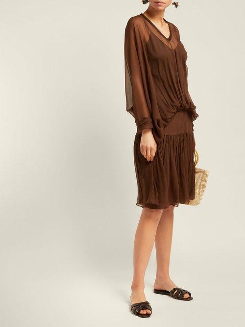 Carino Gathered Silk Chiffon Dress by Albus Lumen
