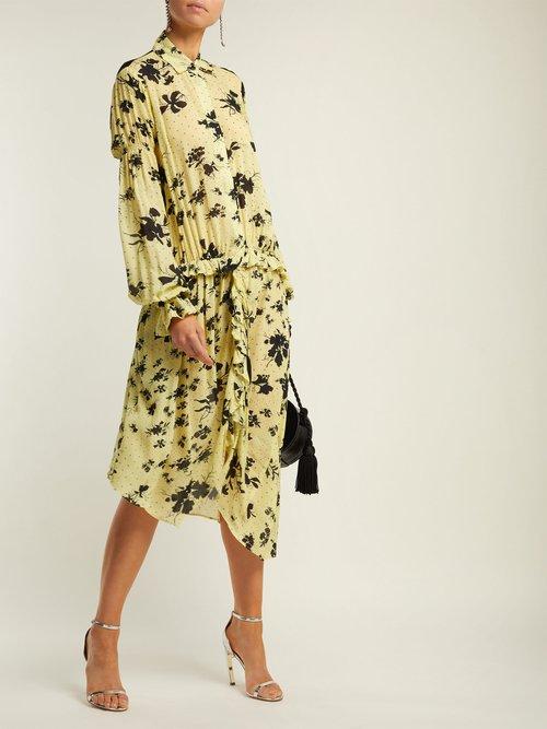 Bonna Floral Print Ruched Midi Dress by Preen Line