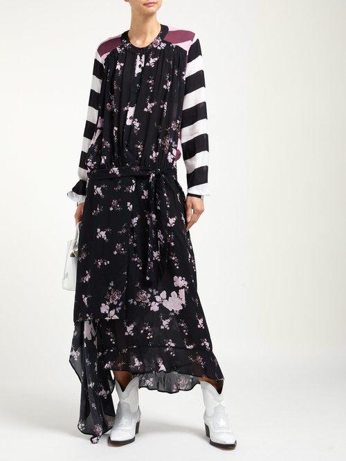 Sora Floral And Stripe Print Asymmetric Dress by Preen Line