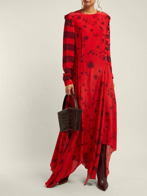 Hebe Floral Print Handkerchief Hem Dress by Preen Line