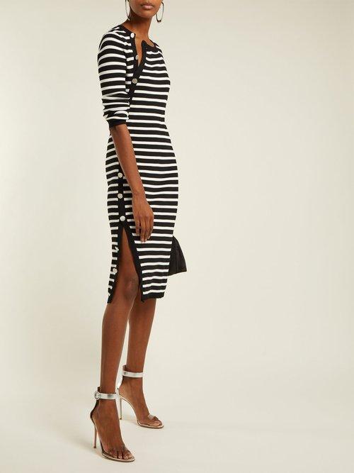 Arzel Striped Ribbed Knit Midi Dress by Altuzarra